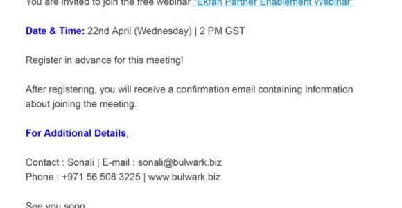 Ekran Webinar -22nd April 2020